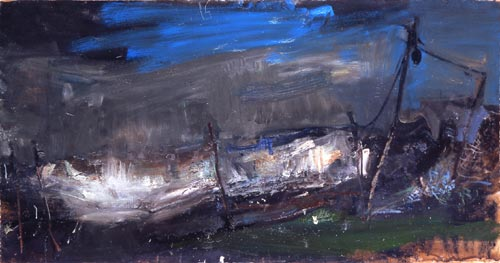Joan Eardley. Salmon Net Posts, 1961–62. Oil on board, 118.5 x 217.5 cm. Tate Gallery © With kind permission of the Eardley Estate.