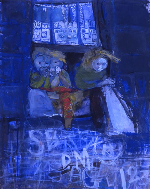 Joan Eardley. <em>Three children at a tenement window</em>, 1961. Goache on paper, 45.8 x 37.2 cm. The Eardley Family © With kind permission of the Eardley Estate.