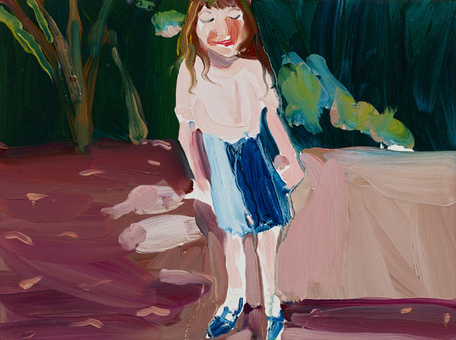 Chantal Joffe. Esme in the Garden, 2015. Oil on board, 30.5 x 40.6 cm (12 1/8 x 16 in). Courtesy the artist and Victoria Miro, London. © Chantal Joffe.