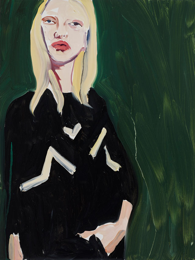 Chantal Joffe. Blonde in a Black Sweater, 2015. Oil on board, 61 x 45.8 cm (24 1/8 x 18 1/8 in). Courtesy the artist and Victoria Miro, London. © Chantal Joffe.