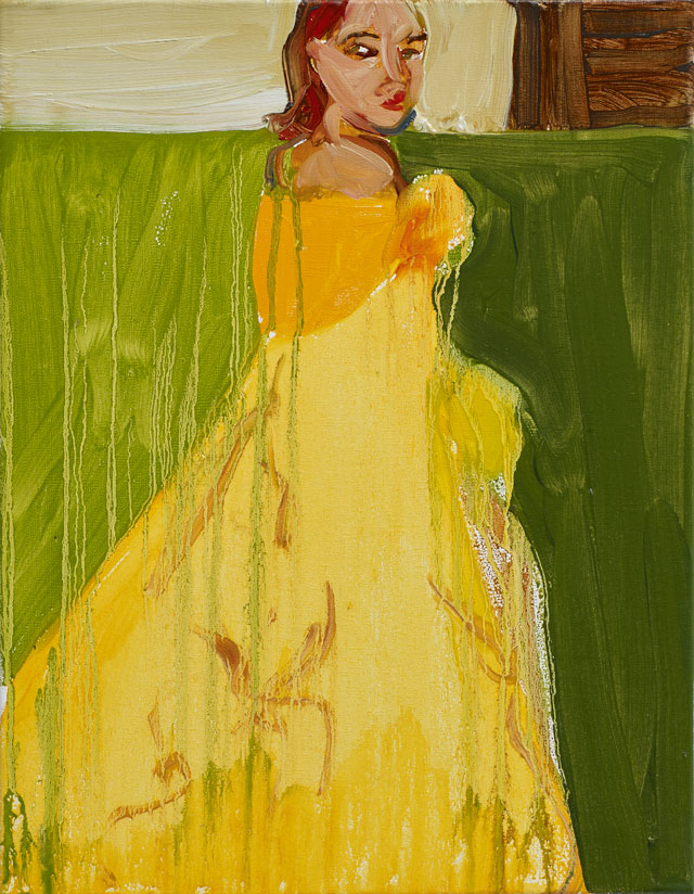 Chantal Joffe. Yellow Ballgown, 2015. Oil on canvas, 45.8 x 35.5 cm (18 1/8 x 14 in). Courtesy the artist and Victoria Miro, London. © Chantal Joffe.