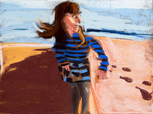 Chantal Joffe. Esme in St Leonards, 2015. Pastel on paper board, 30 x 40 cm (11 3/4 x 15 3/4 in). Courtesy the artist and Victoria Miro, London. © Chantal Joffe.