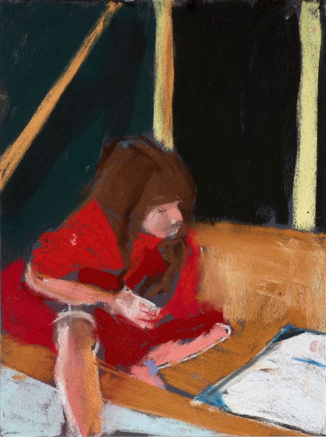 Chantal Joffe. Esme in the Beach Hut, 2015. Pastel on paper board, 40 x 30 cm (15 3/4 x 11 3/4 in). Courtesy the artist and Victoria Miro, London. © Chantal Joffe.