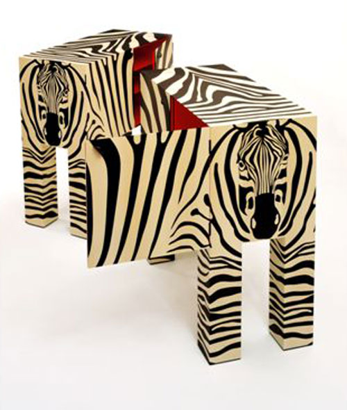 Pair of Zebra cabinets by John Makepeace.