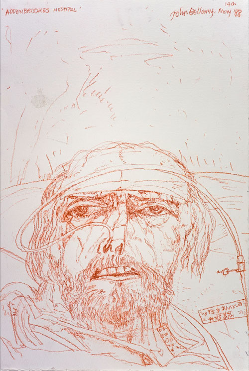 John Bellany. Self-Portrait (from the Addenbrooke's Hospital Series), 1988. Red chalk on paper, 57 x 38.5 cm. Scottish National Gallery of Modern Art.