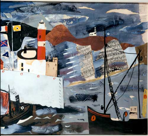 John Piper, <i>Harbour Scene</i>, <i>Newhaven</i>. Private 