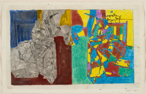 Jasper Johns. Study for Regrets, 2012. Acrylic, photocopy collage, coloured pencil, ink and watercolour on paper, 28.9 x 45.1 cm. Collection of the artist.