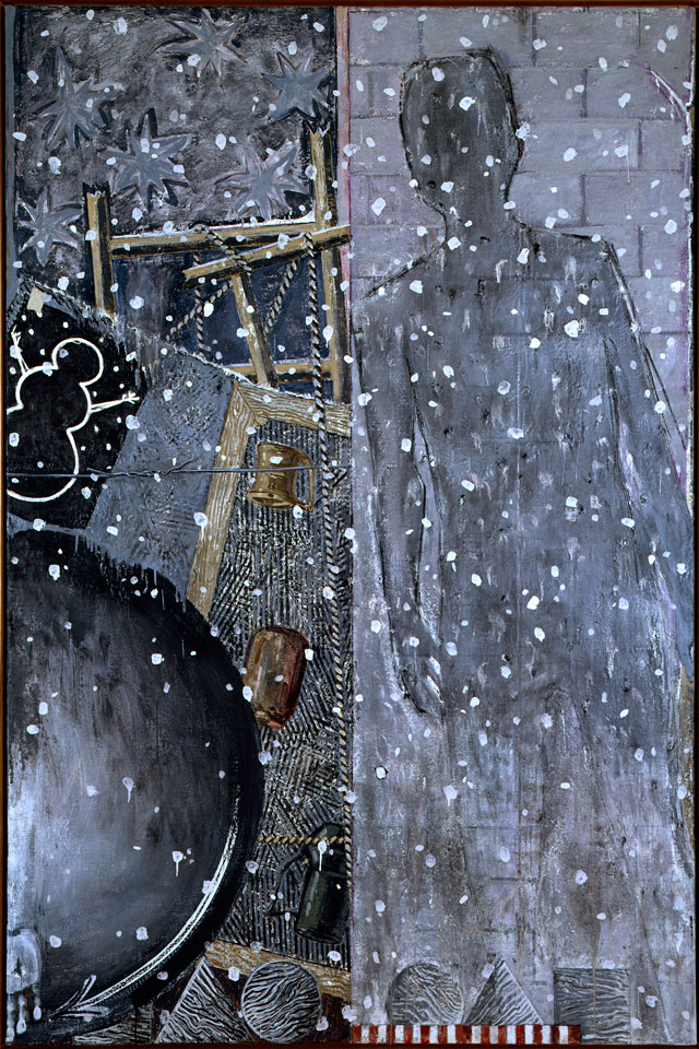 Jasper Johns. Winter, 1986. Encaustic on canvas, 75 x 50 in (190.5 x 127 cm). Private collection. Art © Jasper Johns / Licensed by VAGA, New York, NY.