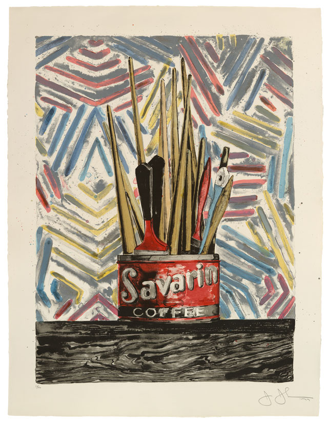 Jasper John, Savarin, 1977. Lithograph, 45 x 35 in. (114.3 x 88.9 cm). Collection of Brian Goldston and Peter Balis.