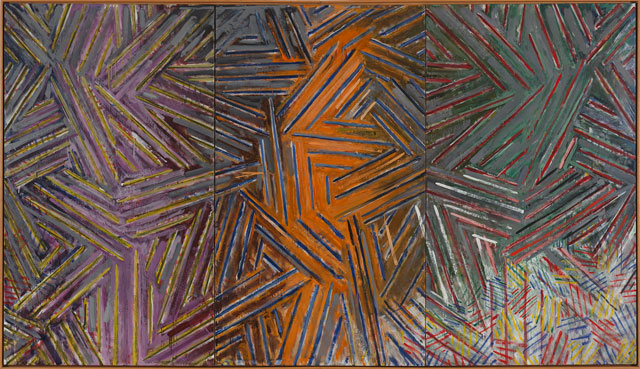 Jasper Johns. Between the Clock and the Bed, 1981. Encaustic on canvas (three panels), 72 1/8 x 126 3/8 in (183.2 x 321 cm). The Museum of Modern Art, New York, Gift of Agnes Gund, Digital Image © The Museum of Modern Art/Licensed by SCALA / Art Resource, NY. Art © Jasper Johns / Licensed by VAGA, New York, NY.