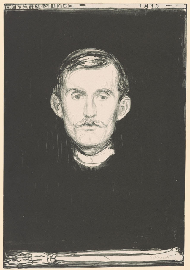 Edvard Munch. Self-Portrait, 1895. Lithograph, 17 7/8 x 12 3/8 in (45.5 x 31.5 cm). Munch Museum.