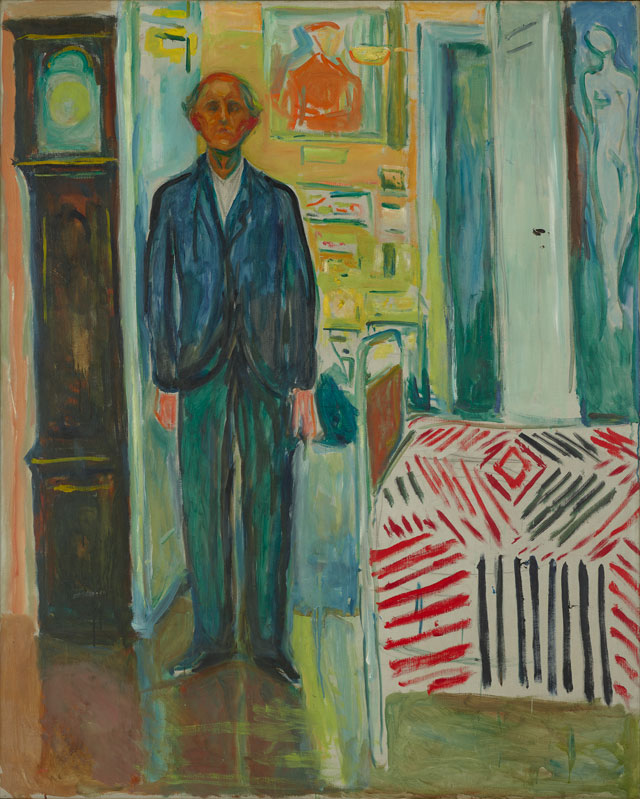Edvard Munch. Self-Portrait between the Clock and the Bed, 1940–43. Oil on canvas, 58 7⁄8 x 47 1⁄2 in. (149.5 x 120.5 cm). Munch Museum.