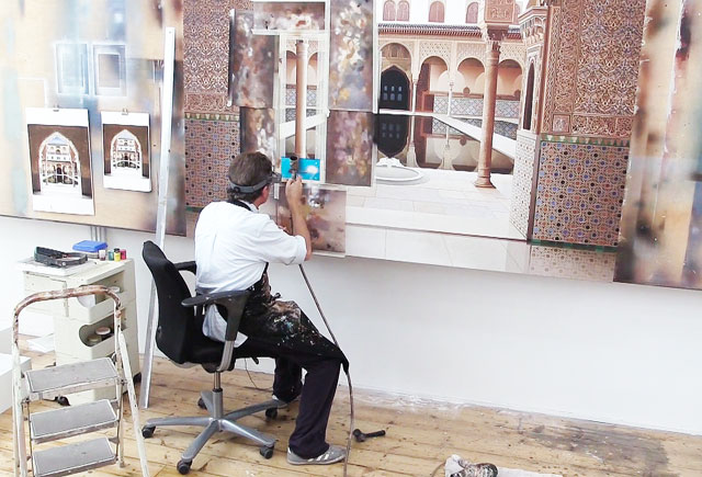 Ben Johnson working on Patio de los Arrayanes in his west London studio, September 2015. Photograph: Martin Kennedy.