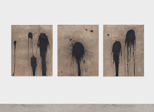 Rashid Johnson. 1,2,4, 2013. Cast bronze, black soap, wax, three panels, each 124.5 x 100.3 x 2.5 cm. © Rashid Johnson. Courtesy the artist and Hauser & Wirth. Photograph: Martin Parsekian.