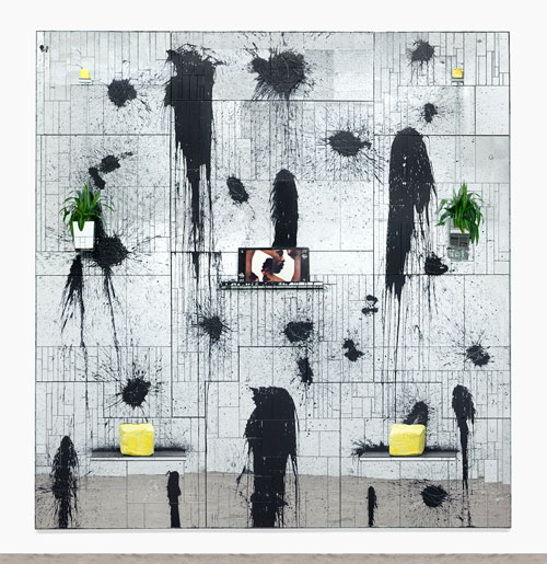 Rashid Johnson. Good King, 2013, mirrored tile, black soap, wax, shea butter, plants, vinyl, 426.7 x 426.7 x 35.6 cm. © Rashid Johnson. Courtesy the artist and Hauser & Wirth. Photograph: Martin Parsekian.