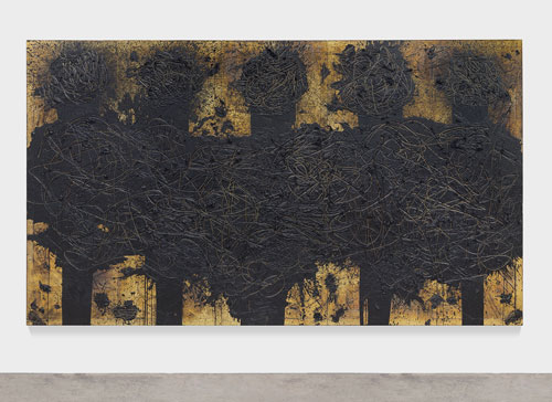 Rashid Johnson. Hollywood Shuffle, 2013, burned red oak flooring, black soap, wax, 243.8 x 426.7 x 7.6 cm. © Rashid Johnson. Courtesy the artist and Hauser & Wirth. Photograph: Martin Parsekian.