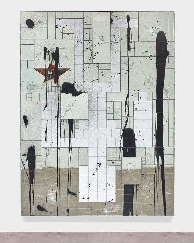 Rashid Johnson. Falling Man, 2015. Mirrored tile, white ceramic tile,spray enamel, vinyl, black soap, wax, 245.7 x 184.8 x 5.4 cm (96 3/4 x 72 3/4 x 2 1/8 in).