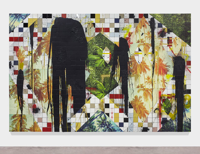 Rashid Johnson. Untitled Escape Collage, 2016. Ceramic tile, black soap, wax, vinyl, spray enamel, 237.5 x 360 x 7.6 cm (93 1/2 x 141 3/4 x 3 in).