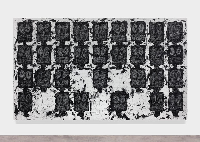 Rashid Johnson. Untitled Anxious Audience, 2016. White ceramic tile, black soap, wax, 240 x 403.2 x 7 cm (94 1/2 x 158 3/4 x 2 3/4 in).