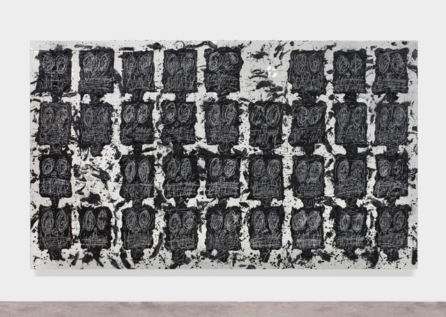 Rashid Johnson. Untitled Anxious Audience, 2016. White ceramic tile, black soap, wax, 239.4 x 403.9 x 8.3 cm (94 1/4 x 159 x 3 1/4 in).