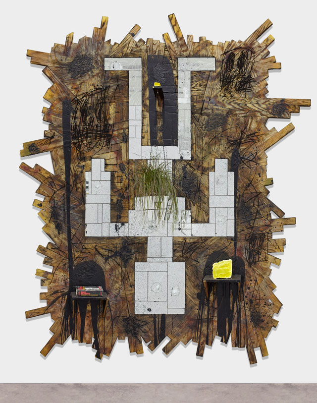Rashid Johnson. Falling Man, 2015. Burned red oak flooring, spray enamel, mirror, black soap, wax, shea butter, book, rug, 293.4 x 261.6 x 65.4 cm (115 1/2 x 103 x 25 3/4 in)>