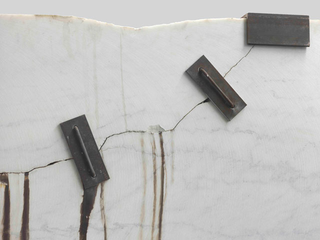 Michael Joo. Prologue (Montclair Danby Vein Cut), 2014-15 (detail). Danby Quarry marble, silver nitrate, steel, 304.8 x 302.9 x 63.5 cm (120 x 119¼ x 25 in). Courtesy the artist and Blain Southern. Photograph: Peter Mallet.