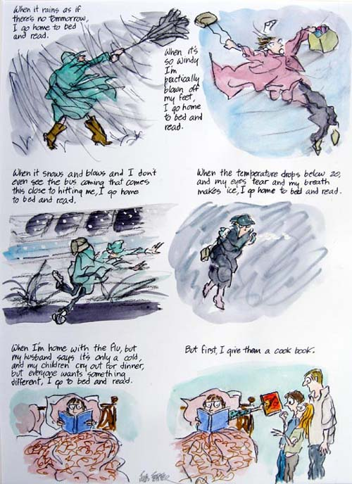 Jules Feiffer. <em>First I Give Them a Cook Book</em>. Ink and watercolor on paper 14 in x 11 in Courtesy Adam Baumgold Gallery, NY.