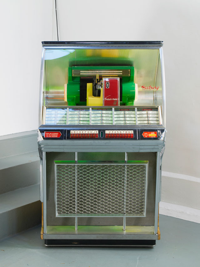 Jamian Juliano-Villani. Same Time Next Year, 2016 (Part One). Customised jukebox, audio, 88.5 x 148.5 x 65.5 cm. Courtesy of the artist and Tanya Leighton Gallery, Berlin. Photograph: Andy Keate.