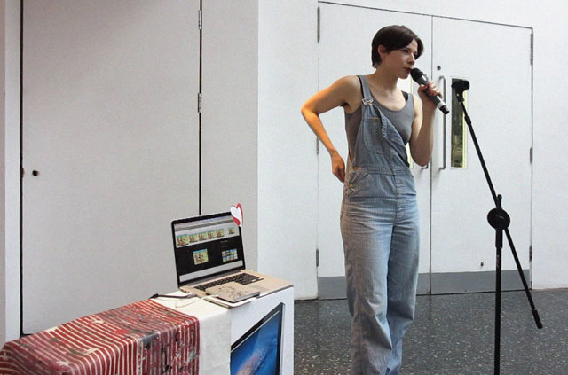Sophie Jung. Deep Impact II*, 2014. Performance, text (broken iMac box, drip painting by Germaine Hoffmann on table cloth, dungarees x2, Thompson and Thomson on google image search, British Heart Foundation post-it, Queen Innuendo on external disk drive, zebra puzzle, steel, CD covers x3, garfield cartoon, used nail varnish remover pads, youtube video). Photograph: Abri De Swardt.