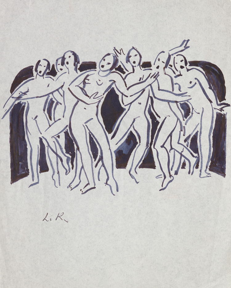Dame Laura Knight. Dancers, late 1920s. Drawing. © Reproduced with permission of The Estate of Dame Laura Knight DBE RA 2019.  All Rights Reserved. Photo: Royal Academy of Arts, London.