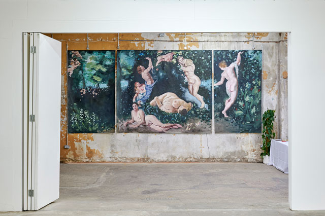 Eleanor Johnson, Lily of the Valley, 2019 (triptych). Oil on canvas, 550 x 230 cm. Installation view, Paulilles Gallery, London 2019. Photo: Gabriel Kenny-Ryder, © the artist.
