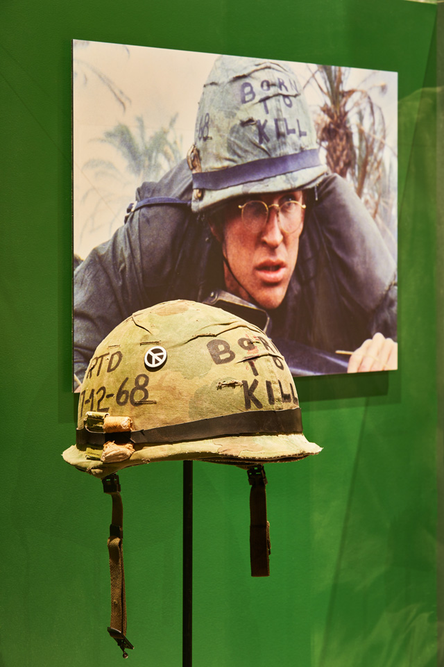 Born to Kill helmet, original prop from the film Full Metal Jacket. Photo: Ed Reeve, courtesy of the Design Museum.