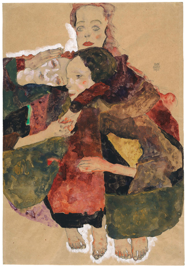 Egon Schiele. Group of Three Girls, 1911. Pencil, watercolour and gouache with white gouache heightening on packing paper, 44.7 x 30.8 cm. The Albertina Museum, Vienna. Exhibition organised by the Royal Academy of Arts, London and the Albertina Museum, Vienna.