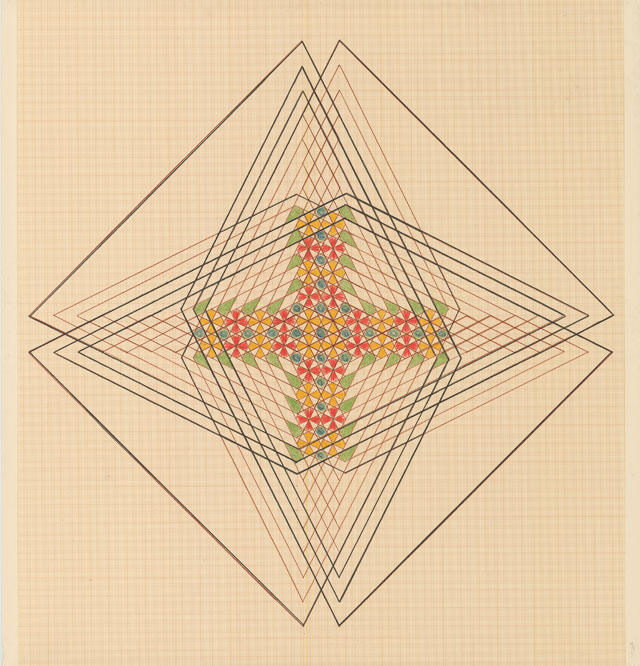 Emma Kunz. Work No. 307. Crayon and oil crayon on graph paper with brown lines, 109 × 105 cm. Courtesy Emma Kunz Centrum.