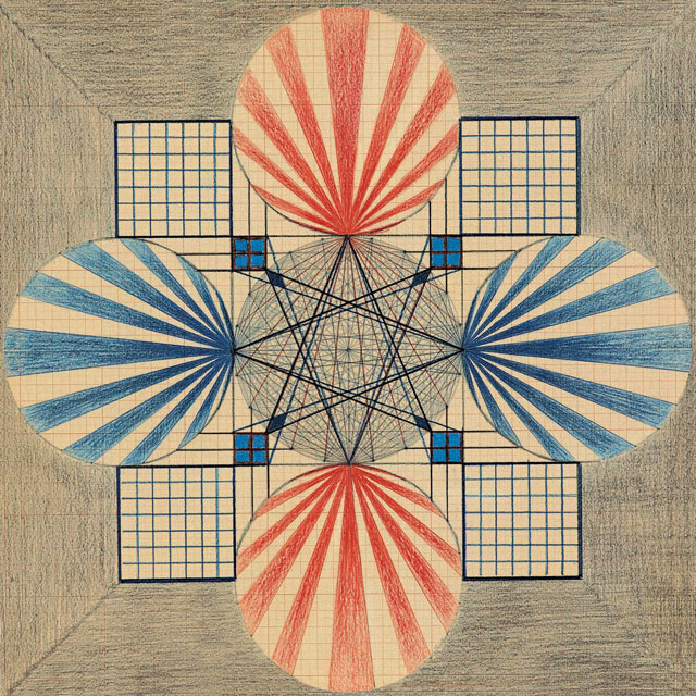 Emma Kunz. Work No. 396. Pencil and crayon on graph paper with brown lines, 42 × 42 cm. Courtesy Emma Kunz Centrum.