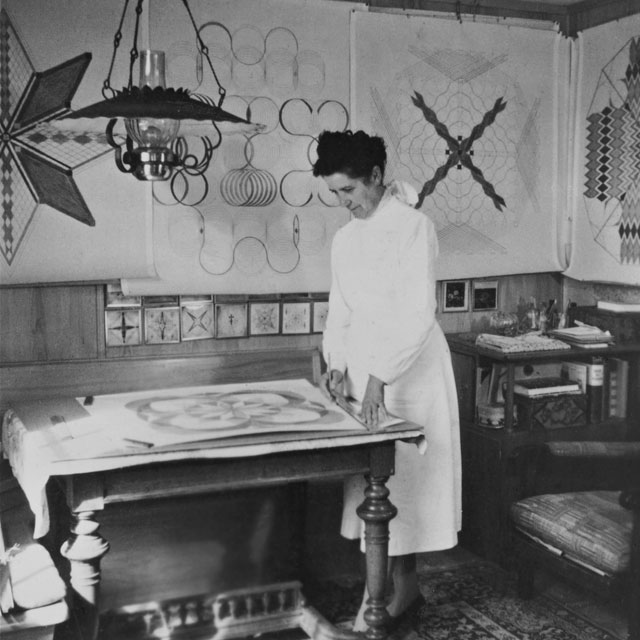 Emma Kunz at her working table, Waldstatt, 1958. Photo copyright Emma Kunz Centrum.