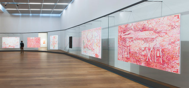 Installation view, Jutta Koether – Tour de Madame, Museum Brandhorst. Photo: Johannes Haslinger, Bayerische Staatsgemäldesammlungen. Courtesy of the artist and Galerie Buchholz, Berlin/Cologne/New York.