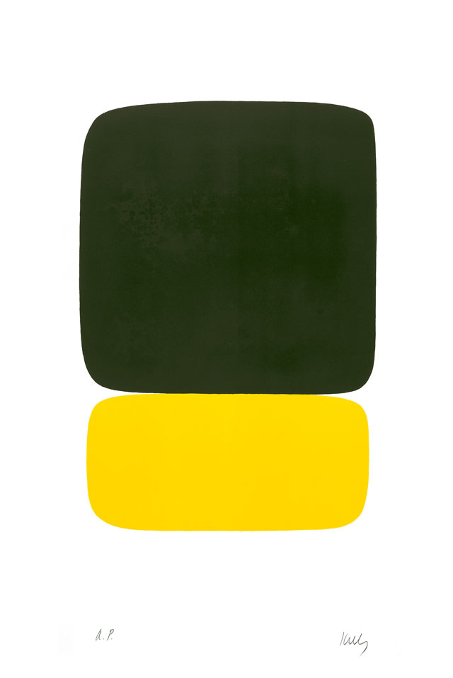 Ellsworth Kelly. Black Over Yellow (Noir sur Jaune), 1964–65. Lithograph on Rives BFK paper, 351/4 x 23 1/2 in (89.5 x 59.7 cm). Norton Simon Museum, Gift of the Artist, 1969, P.1969.027. © Ellsworth Kelly Foundation and Maeght Éditeur.