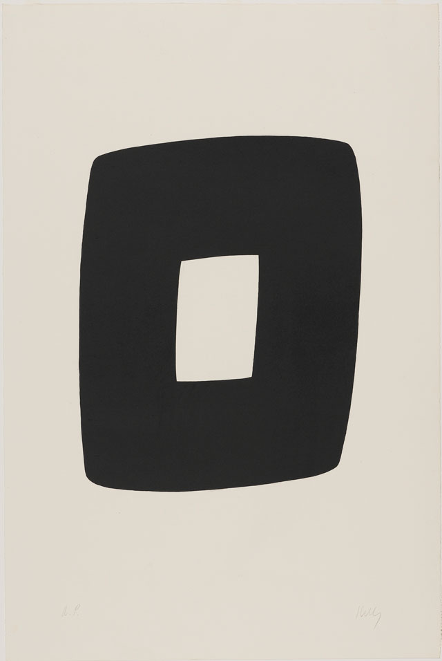 Ellsworth Kelly. Black with White (Noir avec Blanc), 1964–65. Lithograph on Rives BFK paper, 35 1/4 x 23 5/8 in (89.5 x 60 cm). Norton Simon Museum, Gift of the Artist, 1969, P.1969.012. © Ellsworth Kelly Foundation and Maeght Éditeur.