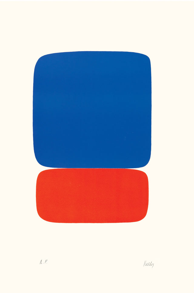 Ellsworth Kelly. Blue Over Orange (Bleu sur Orange), 1964–65. Lithograph on Rives BFK paper, 35 3/8 x 23 5/8 in (89.9 x 60 cm). Norton Simon Museum, Gift of the Artist, 1969, P.1969.024. © Ellsworth Kelly Foundation and Maeght Éditeur.
