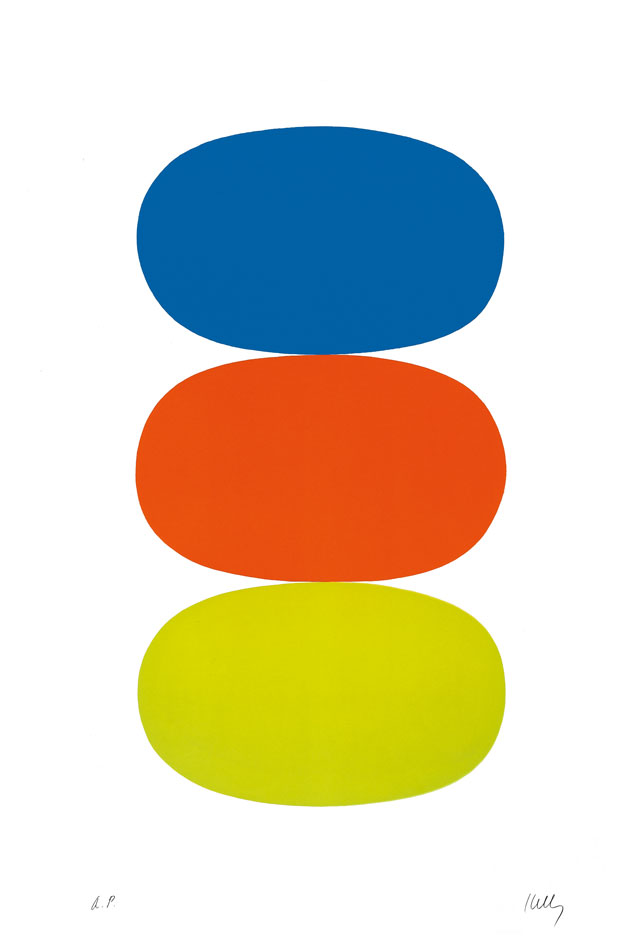 Ellsworth Kelly. Blue and Orange and Green (Bleu et Orange et Vert), 1964–65. Lithograph on Rives BFK paper, 35 3/8 x 23 7/8 in (89.9 x 60.6 cm). Norton Simon Museum, Gift of the Artist, P.1969.019. © Ellsworth Kelly Foundation and Maeght Éditeur.