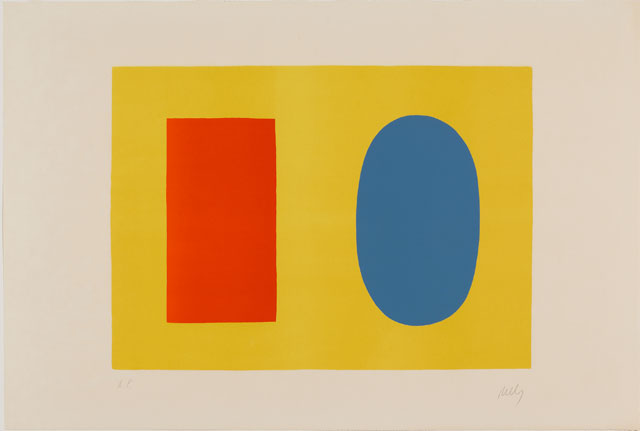Ellsworth Kelly. Orange and Blue Over Yellow (Orange et Bleu sur Jaune), 1964–65. Lithograph on Rives BFK paper, 23 5/8 x 35 3/8 in (60 x 89.9 cm). Norton Simon Museum, Gift of the Artist, 1969, P.1969.033. © Ellsworth Kelly Foundation and Maeght Éditeur