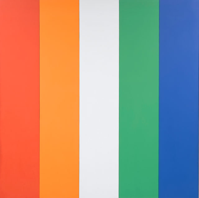 Ellsworth Kelly. Red Orange White Green Blue, 1968. Oil on canvas, 120 x 120 3/8 in (304.8 x 305.7 cm); each panel: 120 x 24 in (304.8 x 61 cm). Norton Simon Museum, Museum Purchase, Fellows Acquisition Fund, P.1968.14a-e. © Ellsworth Kelly Foundation.