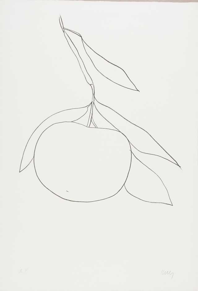 Ellsworth Kelly. Tangerine (Mandarine), 1964–65. Transfer lithograph on Rives BFK paper, 35 3/8 x 24 1/4 in (89.9 x 61.6 cm). Norton Simon Museum, Gift of the Artist, 1969, P.1969.036. © Ellsworth Kelly Foundation and Maeght Éditeur.