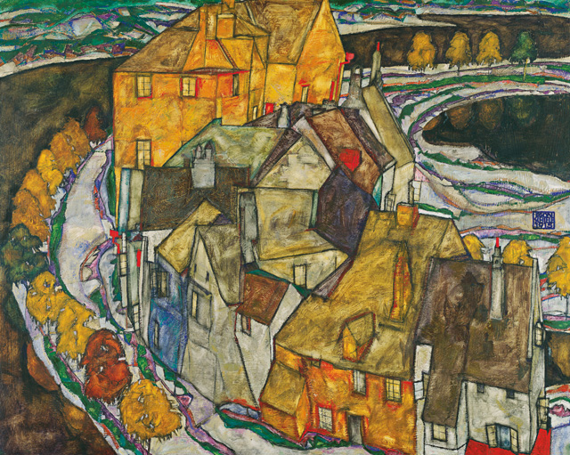 Egon Schiele. Crescent of Houses ll (Island Town). © Leopold Museum, Vienna.
