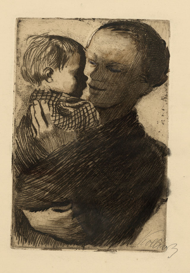 Käthe Kollwitz. Mother with Child in Her Arms, 1910. Etching. © The Trustees of the British Museum.