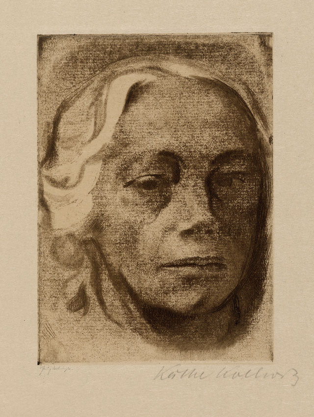 Käthe Kollwitz. Self Portrait, 1912. Etching, drypoint and soft ground. © The Trustees of the British Museum.