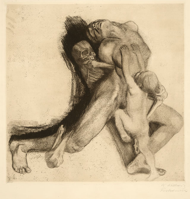 Käthe Kollwitz. Tod und Frau (Death and Woman), 1910. Etching proof. © The Trustees of the British Museum.