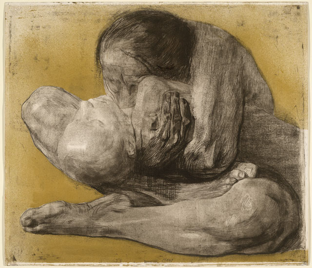 Käthe Kollwitz. Woman with Dead Child, 1903. Soft-ground etching with engraving overprinted lithographically with gold tone-plate. © The Trustees of the British Museum.