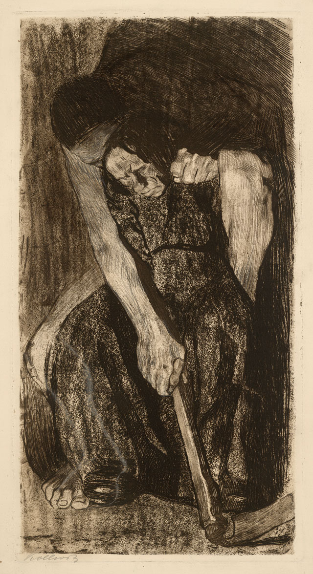 Käthe Kollwitz. Inspiration, 1904-5, (first version of plate 3). Etching and engraving touched with white heightening. © The Trustees of the British Museum.